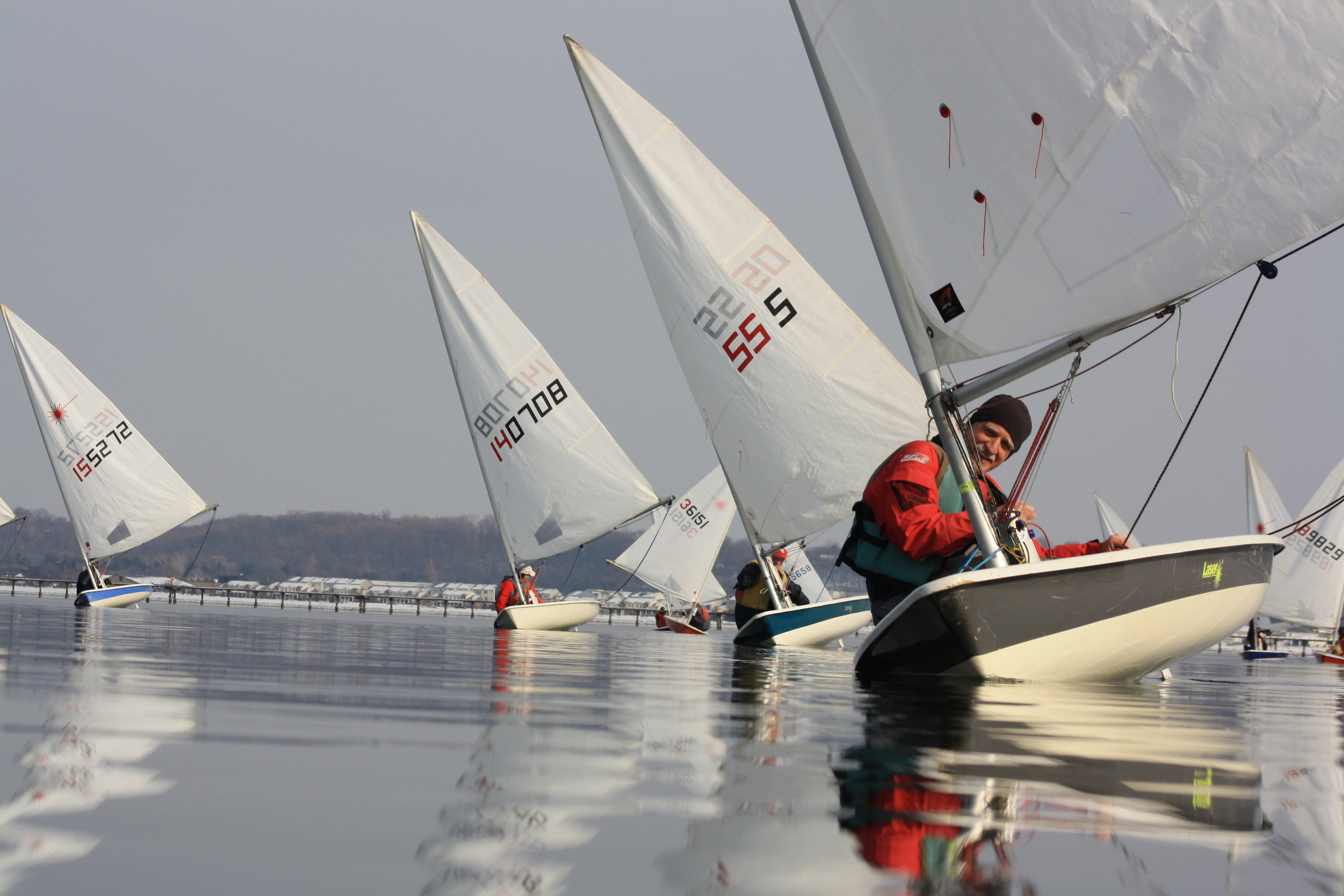 Lasers ghosting downwind during a Frostbite race